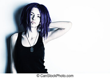 teenager - Portrait of a punk girl with purple hair.