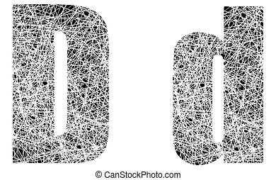 Abstract Black and White Font Letter D