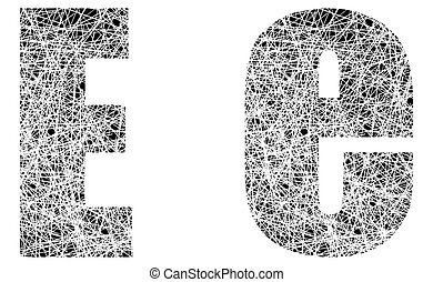 Abstract Black and White Font Letter E