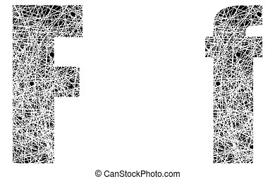Abstract Black and White Font Letter F