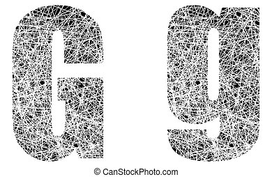 Abstract Black and White Font Letter G