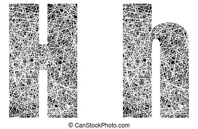 Abstract Black and White Font Letter H