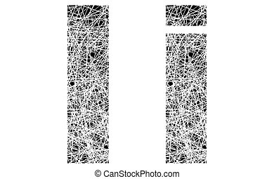 Abstract Black and White Font Letter I