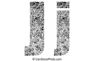 Abstract Black and White Font Letter J