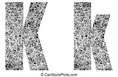 Abstract Black and White Font Letter K