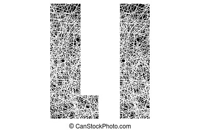 Abstract Black and White Font Letter L