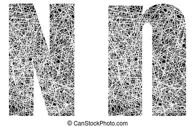 Abstract Black and White Font Letter N