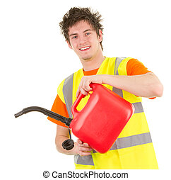 Fuel can guy - A mechanic pouring from a fuel can, isolated...