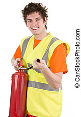 Fireman with an extinguisher - A fire man holding a fire...