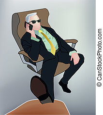 Boss - Businessman talking on mobile phone