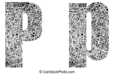 Abstract Black and White Font Letter P