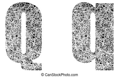 Abstract Black and White Font Letter Q