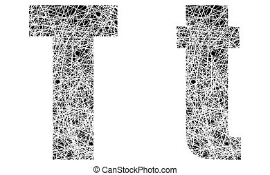 Abstract Black and White Font Letter T