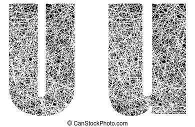 Abstract Black and White Font Letter U