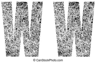 Abstract Black and White Font Letter W