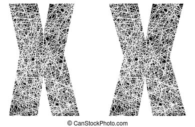 Abstract Black and White Font Letter X