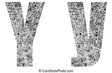 Abstract Black and White Font Letter Y