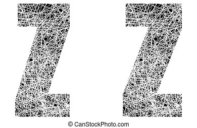 Abstract Black and White Font Letter Z