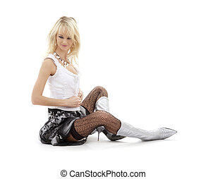 undressing blonde in silver boots - classical pin-up image...
