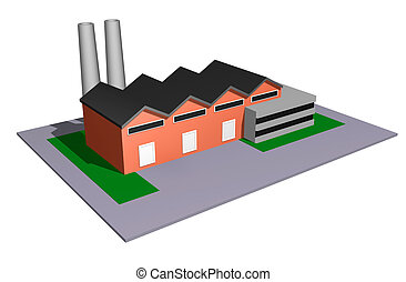Industry model - 3d illustration of small and medium size...