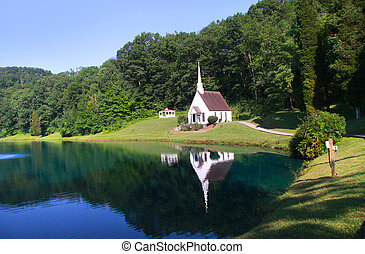 Church in West Virginia - Historic church by the lake in...