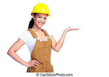 Worker woman. - Young smiling Worker woman. Isolated over...