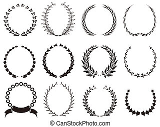 set of black Laurel Wreaths - isolated black Laurel Wreaths...