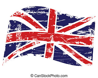 Grunge, unido, reino, bandera