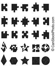 black jigsaw Puzzle Pieces icon - isolated black jigsaw...