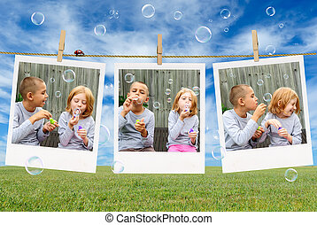 Brother and sister blowing soap bubbles - Pictures of cute...