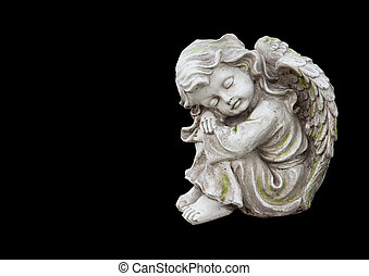 Mourning angel on black - Sculpture of mourning angel...