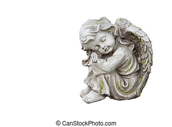 Mourning angel on white - Sculpture of mourning angel...