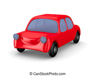 Red car on white background Isolated 3D image