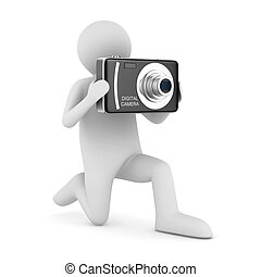 man with compact digital camera. Isolated 3D image