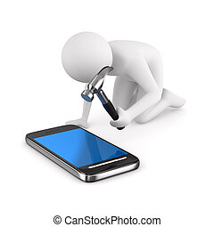 Man repairs phone. Isolated 3D image on white