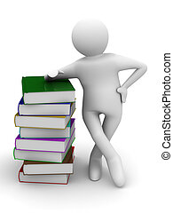 student with bale books. Isolated 3D image