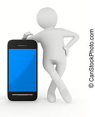 man with phone on white Isolated 3D image