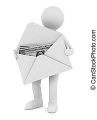 Money in envelope on white background Isolated 3D image