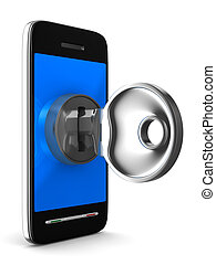 phone with key on white background Isolated 3D image