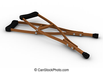 Crutches on white background Isolated 3D image