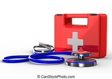 Stethoscope and first aid on white background Isolated 3D...
