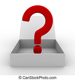 Open box with question. Isolated 3D image