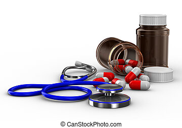 Stethoscope and pills on white background Isolated 3D image