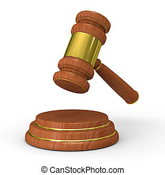 Auction gavel on white. Isolated 3D