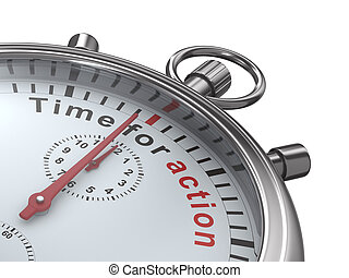 Time for action. Stopwatch on white background. Isolated 3D...
