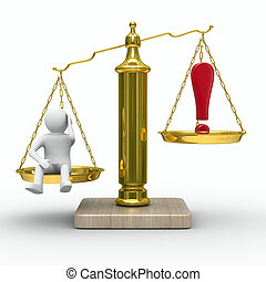 man and exclamation point on scales. Isolated 3D image