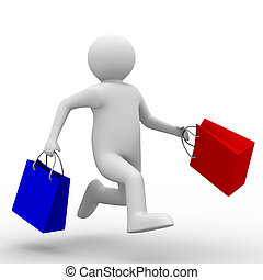 Man with shoping bag on white. Isolated 3D image