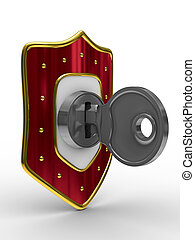 red shield with key. isolated 3D image