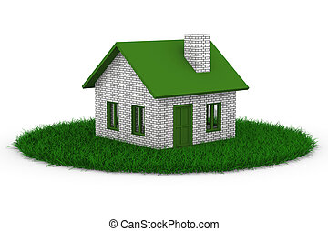 House on grass. Isolated 3D image on white