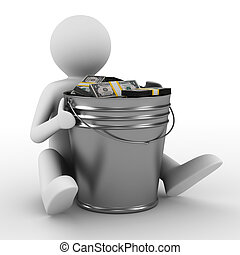 businessman with bucket of money isolated 3D image